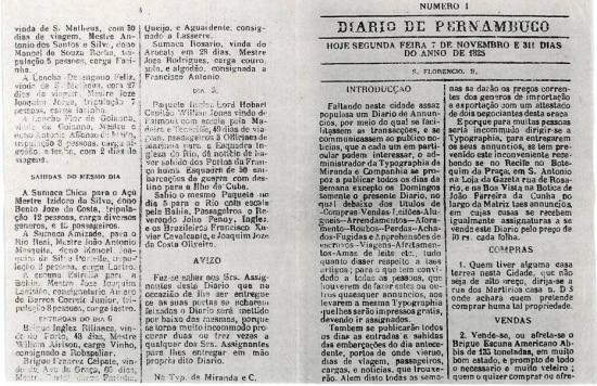 Primeira edição do jornal do Diário de Pernambuco