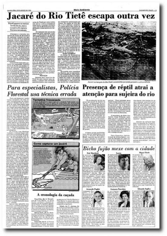 Escapada do Jacaré nojornal de 22/8/1990