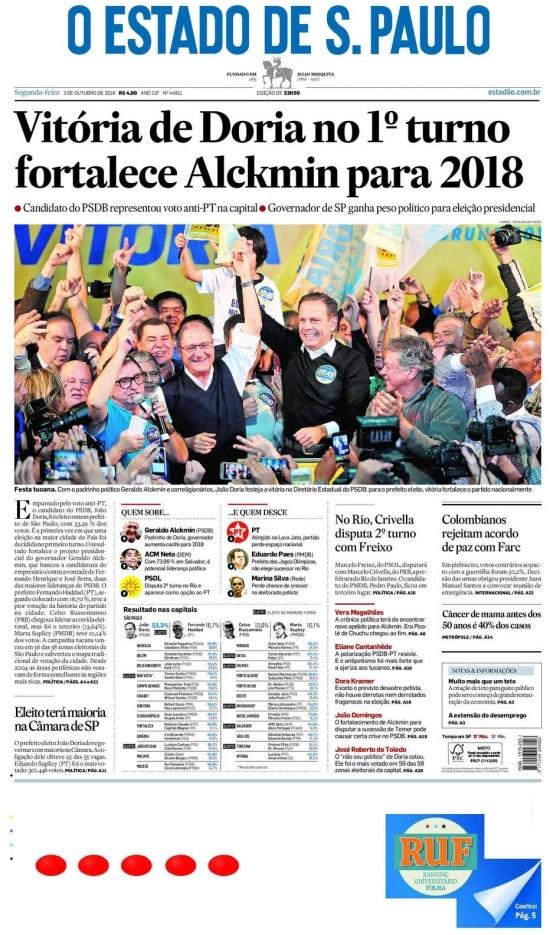 > Estadão - 03/10/2016