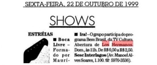 Nota sobreshow do Iracom abertura dos Los Hermanospublicada em 22/10/1999