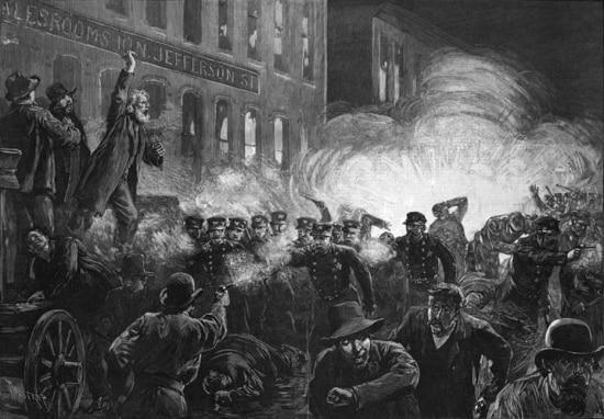Ilustração da Revolta de Haymarket em Chicago, EUA,1886.