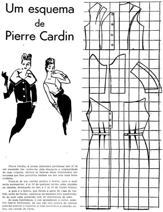 Molde de vestido de Pierre Cardinno jornal de 17/5/1957