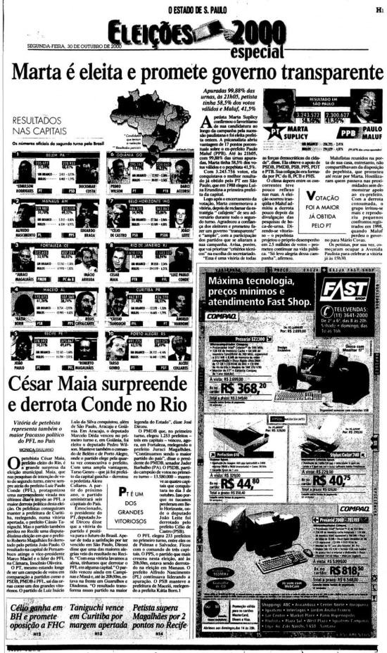> Estadão - 30/10/2000