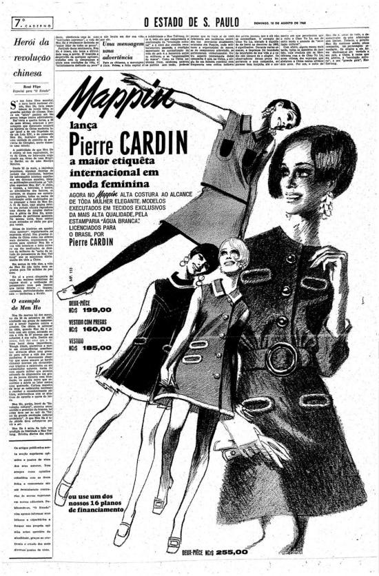 Moda de Pierre Cardin no Mappin, 18/8/1968