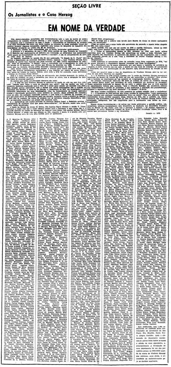 Manifesto'Em Nome da Verdade: os Jornalistas e o Caso Herzog',3/2/1976