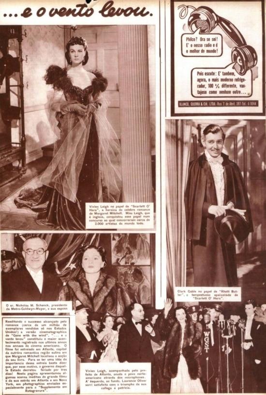 Vivian Leigh e Clark Gable no Suplemento em Rotogravura do Estadão