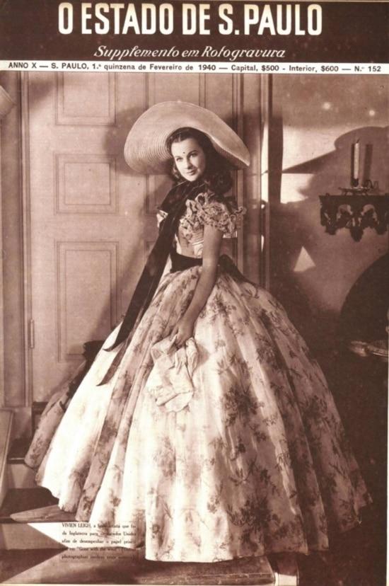 A atriz Vivian Leigh noSuplemento em Rotogravurado Estadão em 1940