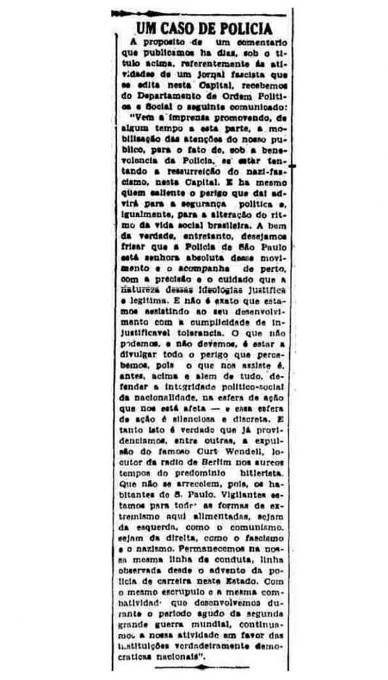 Textopublicado em 27/7/1949em que o Dops define nazismo como extremismo de direita.