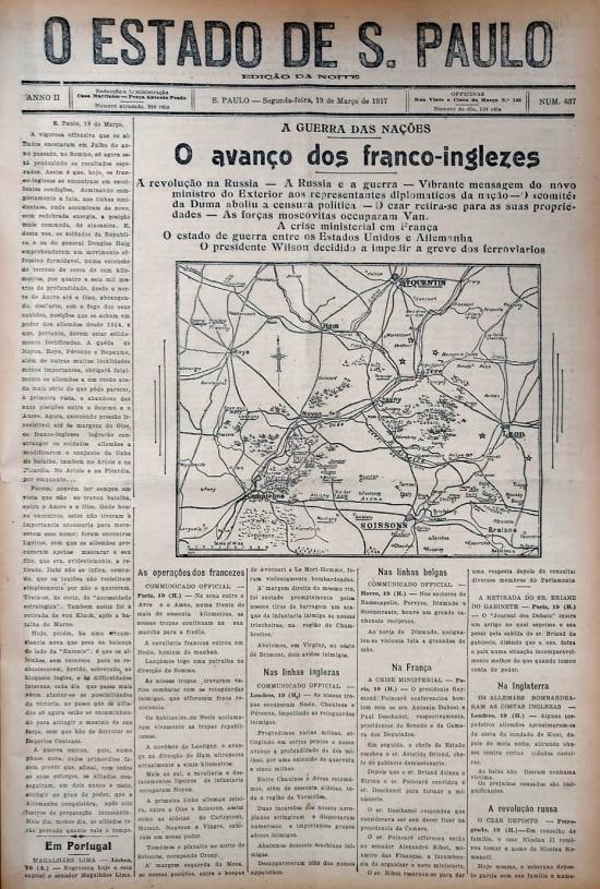 Capa do Estadinho, edição noturna do Estadão, de 19 de março de 1917, reportando o avanço das tropas aliadas no norte da França