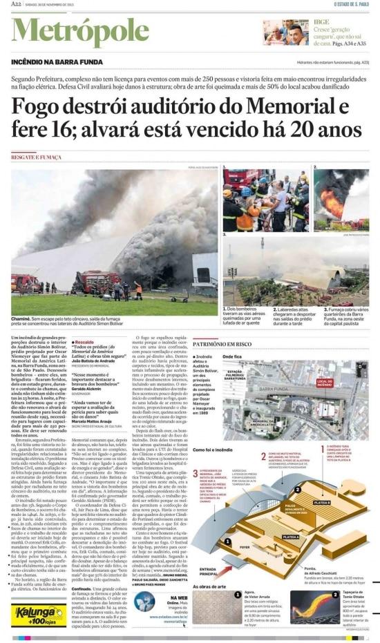Incêndio do auditório do Memorial da América Latina