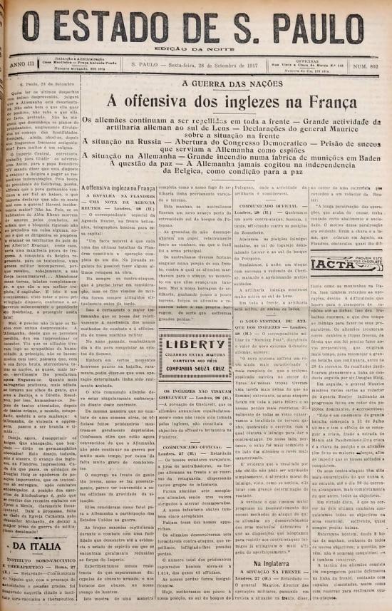 Capa do Estadinho de 28/09/1917