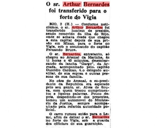 Notícia publicada noEstadão de 3 de novembro de 1932sobre a prisão do ex-presidente Arthir Bernardes.