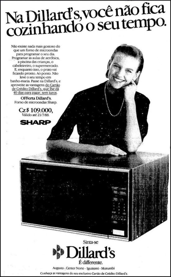 Anúncio do microondas da Sharp no Estadão 19/7/1988