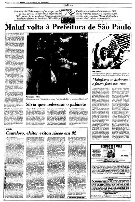 > Estadão -16/11/1992