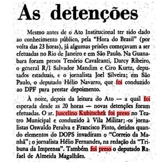 Notícia 'As detenções', publicada nacapa do Estadão de 14/12/1968sobre a prisão do ex-presidente Juscelino Kubitschek no dia da instauração do AI-5 pela ditadura militar.