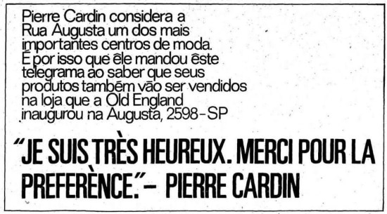 Anúncio de coleção de Pierre Cardin na loja Old Englandna Rua Augusta, 3/11/1968
