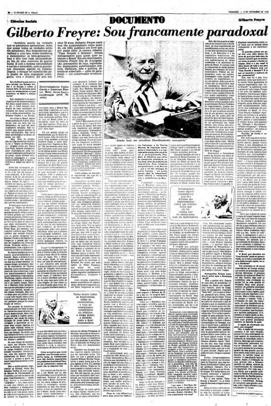 Entrevista com Gylberto Freire,5/11/1978.