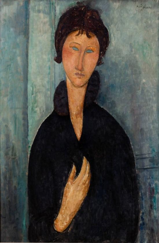 """""""Mulher dos olhos azuis"""" de Amedeo Modigliani (1918). Museu de Arte Moderna da Cidade de Paris"""