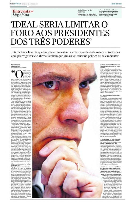 Sérgio Moro nojornal de 6/11/2016
