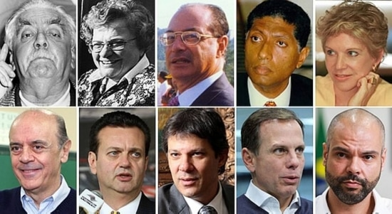 Prefeitos deSão Paulo desde 1985: Jânio Quadros, Luiza Erundina, Paulo Maluf, Celso Pitta, Marta Suplicy, José Serra, Gilberto Kassab, Fernando Haddad, João Doria e Bruno Covas.