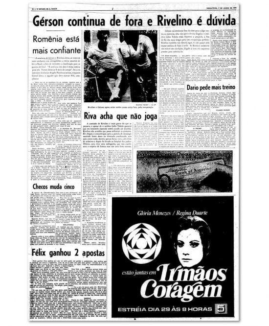Notícias da seleção noEstadão de 5/6/1970