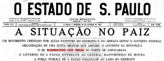 Notícia da prisão do ex-presidente Washington Luis publicada noEstadão de25 de outubro de 1930.