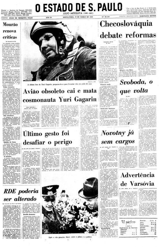 Página do jornal em 29 março de 1968.