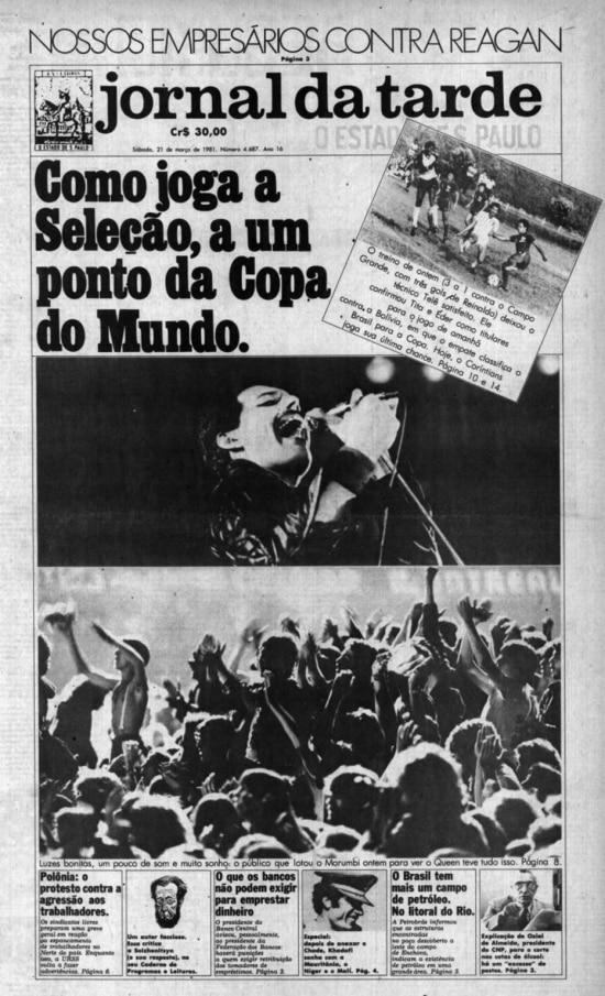 Página do Jornal da Tarde sobre show do Queen no Brasil em 1981.