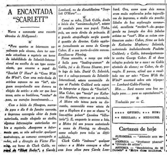 Texto sobre papel Scarlett O'Hara no cinema nojornal de14/1/1939
