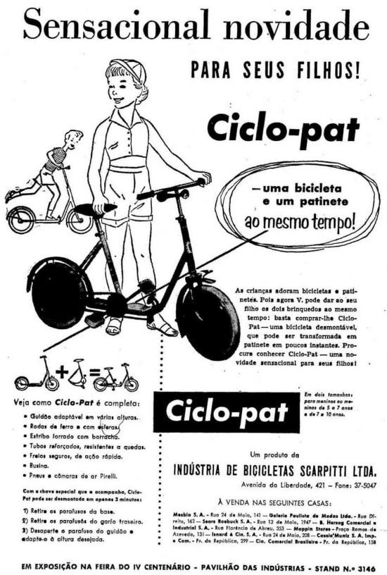 Anúncio do ciclo-patpublicado em 12/9/1954.