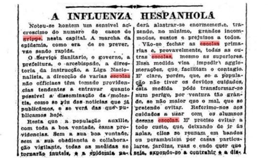 Fechamento das escolas foi uma das primeiras medidas adotadas para enfrentar a gripe. Clique aqui para ler a notícia do Estadão de 18/10/1918.