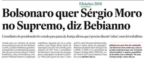 Sérgio Moro nojornal de 21/10/2018