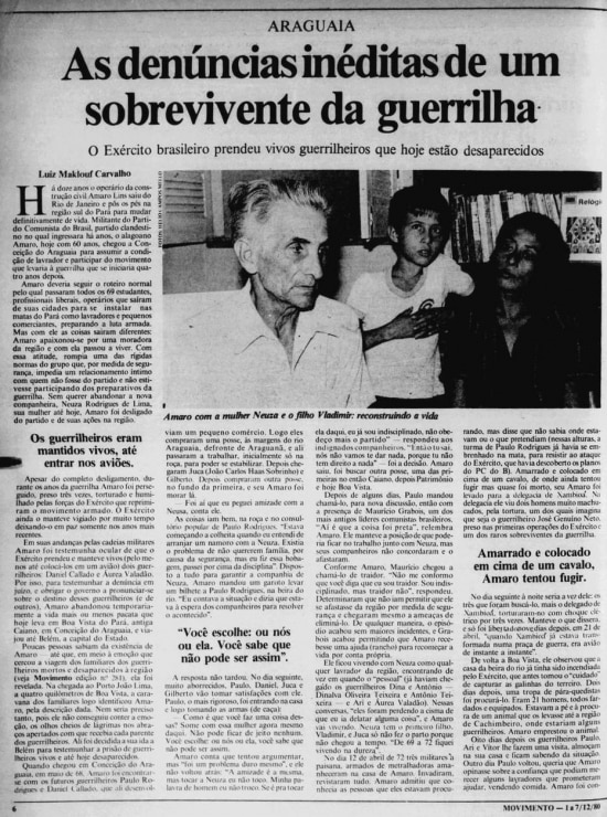 Reportagem de Luiz Maklouf Carvalho no jornal Movimento em 1980.