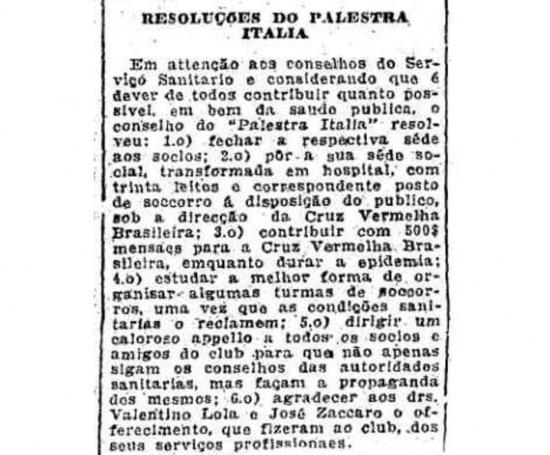 Leitos foram improvisados nas dependências do Clube Palestra Itália em 1918. Clique aqui para ler a notícia do Estadão de 26/10/1918