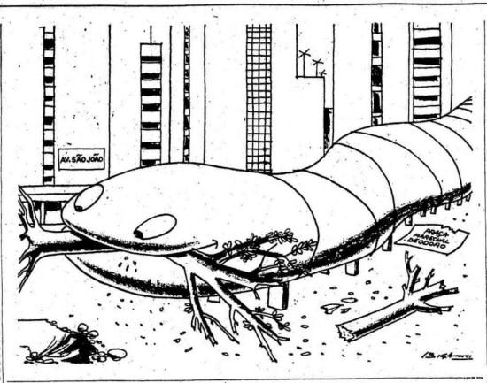Minhocão engole a praça Marechal Deodoro emcharge de Biganti, 23/5/1970