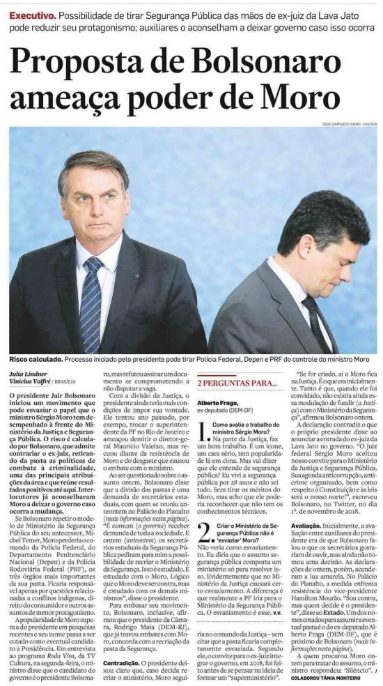 Sérgio Moro nojornal de 24/01/2020