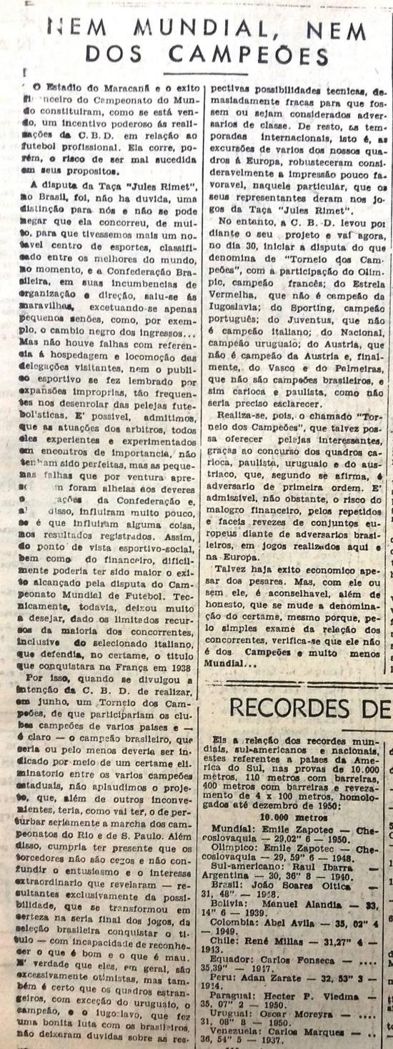 """Artigo """"Nem mundial, nem dos campeões"""" noEstadãoem 24/6/1951"""