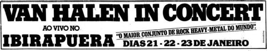 Anúncio dos shows doVan Halen no Ginásio do Ibirapueraem 1983