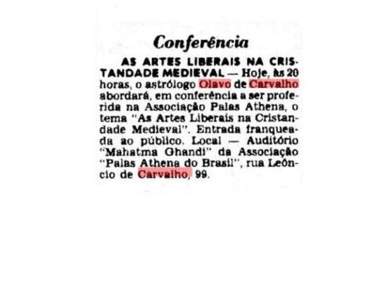 """Guia de palestra """"Artes liberais na cristandade medieval"""" com Olavo Carvalhopublicado em 3/9/1983"""