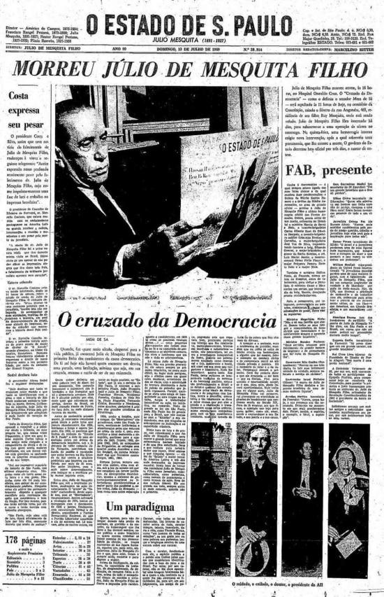 Capa do jornalcom a notícia damorte de Julio de Mesquita Filho