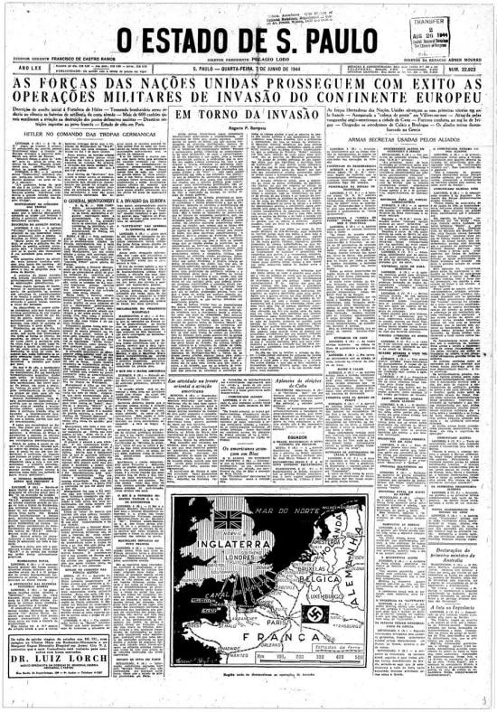 Invasão da Normandia pelos aliados, conhecida como o Dia D da Segunda Guerra Mundial na capa do jornal de7 de junho de 1944.
