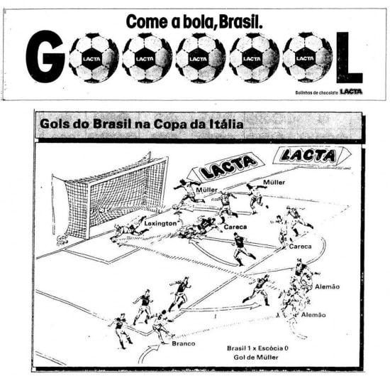 Publicidade da Lacta no Estadão de 21/6/1990