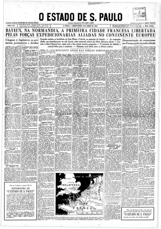 Invasão da Normandia pelos aliados, conhecida como o Dia D da Segunda Guerra Mundial nacapa do jornal de 8 de junho de 1944.
