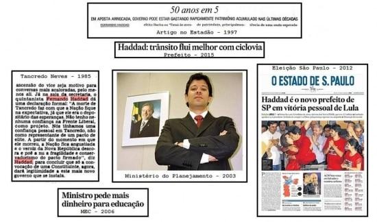 A história do candidato Fernando Haddad naspáginas do jornal.