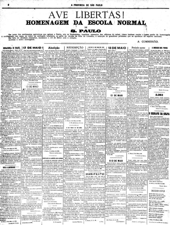 Página dojornal de 15/5/1888