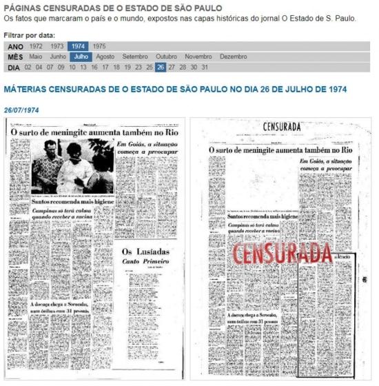 Páginascensuradaspelos censores da ditadura militar.  Cliqueaquipara ver mais