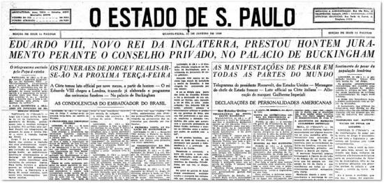 O Estado de S.Paulo - 12/01/1936 Clique aqui para ver a página