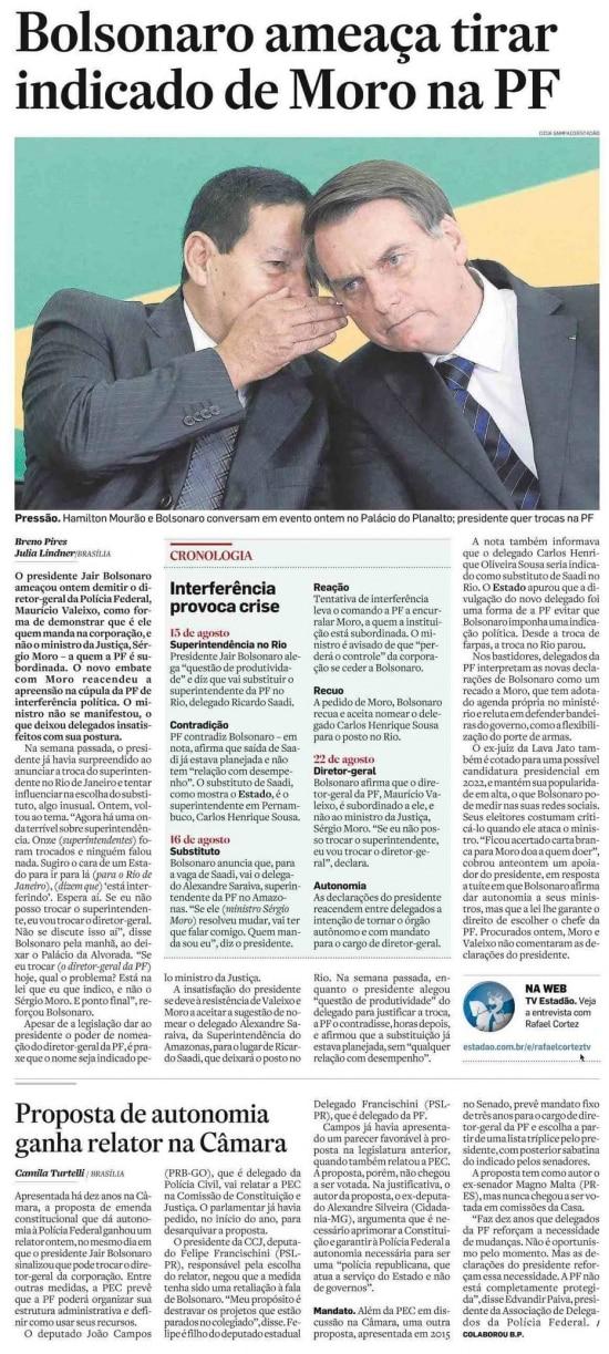 Sérgio Moro nojornal de 23/8/2019