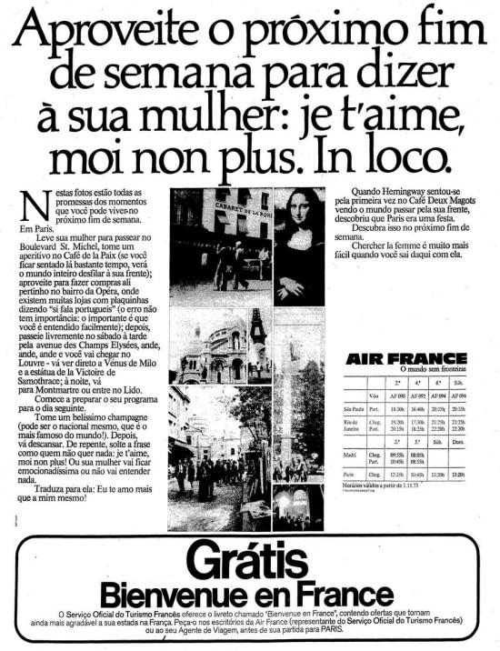 Anúncio da Air Francebrincando com o título da música 'Je t'aime... moi non plus'