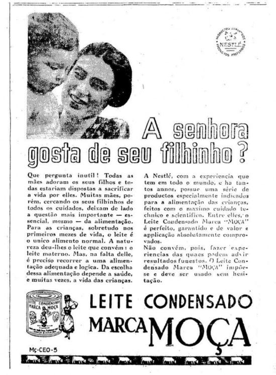 Anúncio de leite condensado publicado noEstadão de 31/5/1936